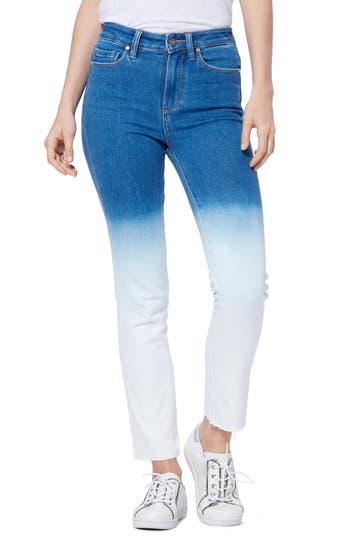 PAIGE Hoxton High Waist Raw Hem Ankle Slim Jeans (Arctic Ombré)