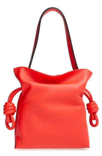 LOEWE 'SMALL FLAMENCO KNOT' CALFSKIN LEATHER BAG - RED