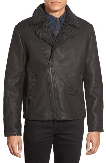 Men's Vince Camuto Leather Moto Jacket With Faux Shearling Lining
