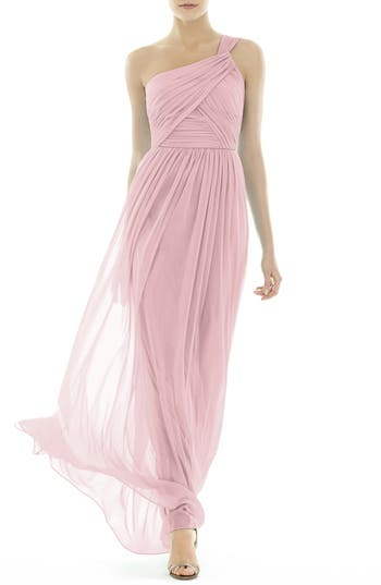 Alfred Sung One-Shoulder Shirred Chiffon Gown, Pink