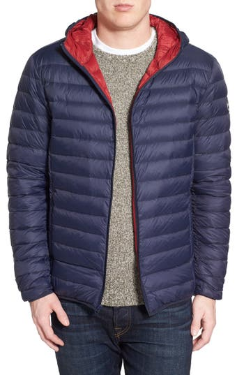 Schott Nyc Zip Front Down Jacket, Blue