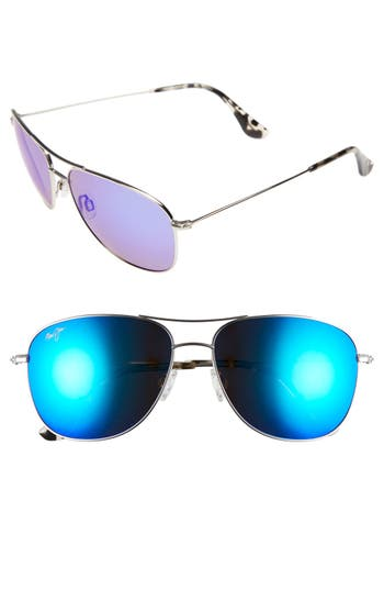 Maui Jim Cliff House 5m Polarizedplus2 Metal Aviator Sunglasses - Silver/ Blue Hawaii