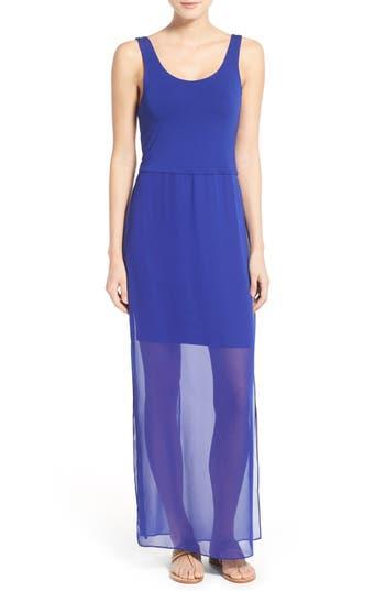 Petite Vince Camuto Chiffon Overlay Tank Dress, Blue