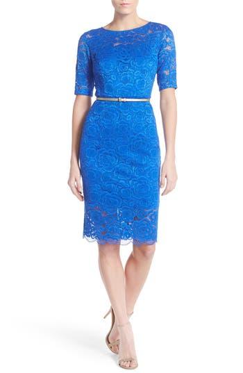 Petite Ellen Tracy Belted Lace Sheath Dress, Blue