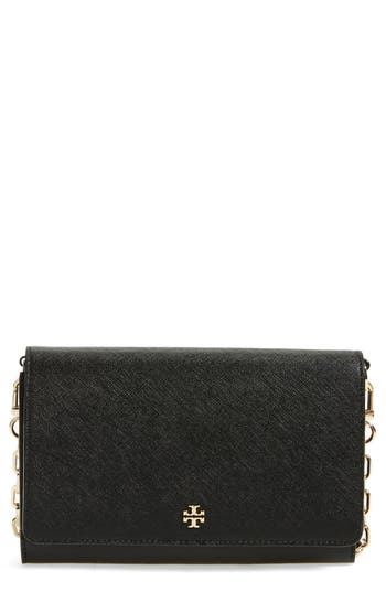 Women's Tory Burch 'Robinson' Leather Wallet On A Chain -