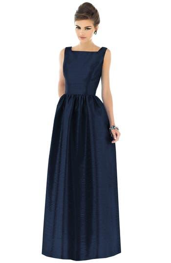 Alfred Sung Square Neck Dupioni Full Length Dress, Blue