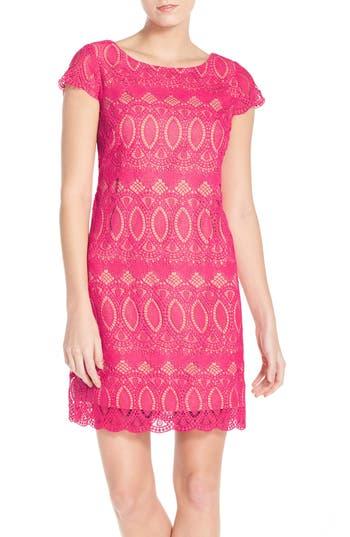 Women's Eliza J Scalloped Lace Sheath Dress, Size 6 - Pink