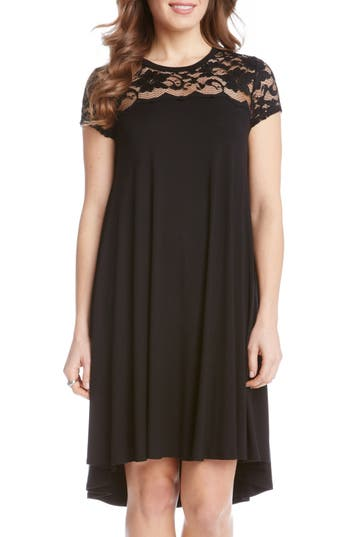 Karen Kane Lace Yoke Cap Sleeve Swing Dress