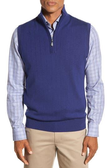 Bobby Jones Quarter Zip Wool Sweater Vest, Blue