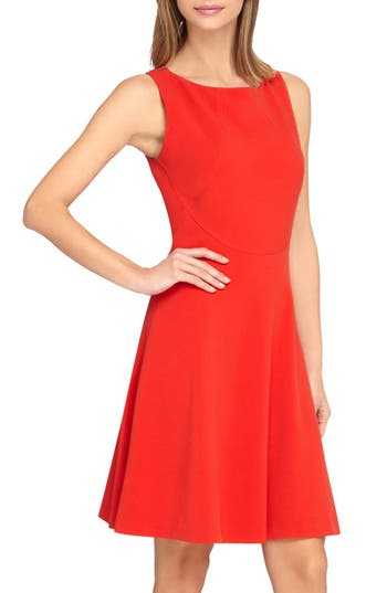 Petite Tahari Sleeveless A-Line Dress, Red