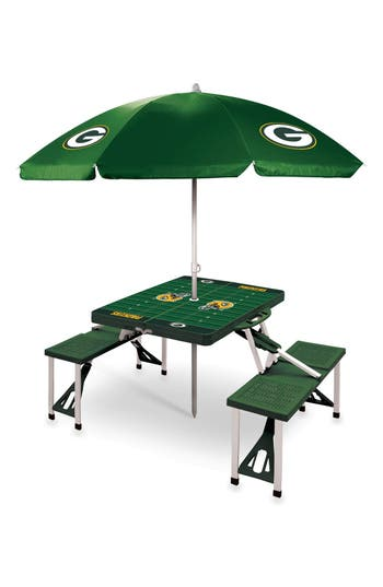 Picnic Time Team Football Field Design Portable Picnic Table With Umbrella, Size One Size - Green