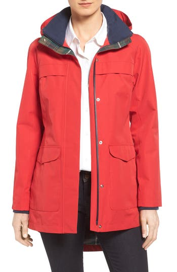 Women's Pendleton Hooded Raincoat, Size Large - Red