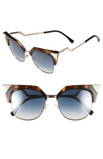 Women's Fendi 54Mm Metal Tipped Cat Eye Sunglasses - Havana/ Gold