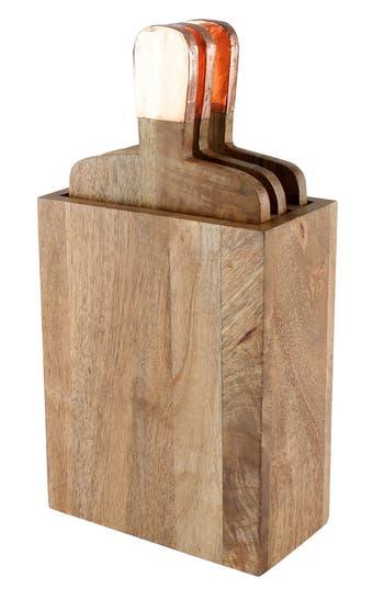 Thirstystone 'Urban Farm' Mango Wood Serving Boards & Holder, Size One Size - Metallic