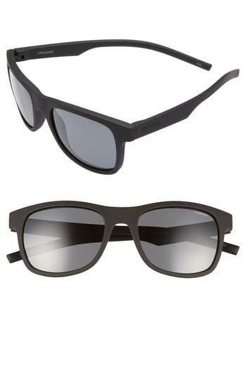 Polaroid Eyewear 51Mm Polarized Retro Sunglasses - Rubber Black