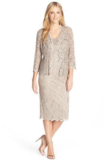 Women's Alex Evenings Lace Dress & Jacket, Size 8 - Beige