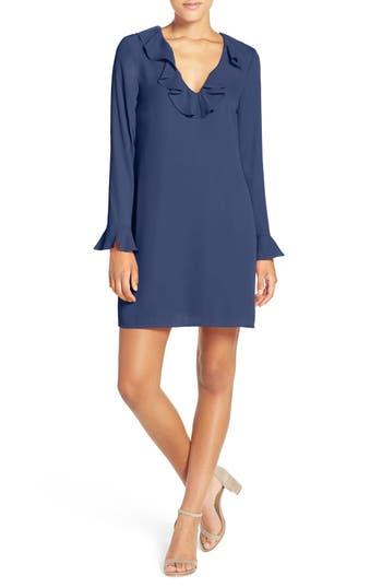 Women's Charles Henry Ruffle Neck Shift Dress, Size Small - Blue