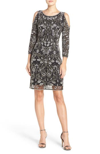 Pisarro Nights Embellished Mesh Sheath Dress, Black