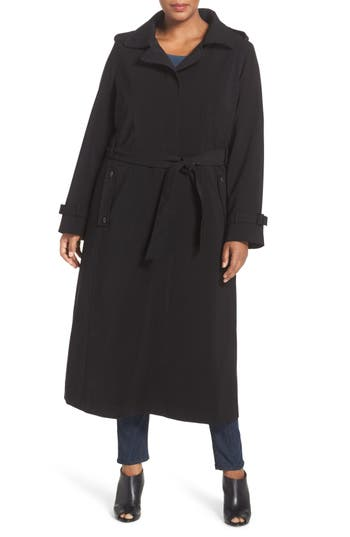 Plus Size Women's Gallery Long Nepage Raincoat With Detachable Hood & Liner