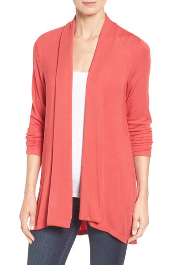 Women's Bobeau High/low Jersey Cardigan, Size XX-Small - Red