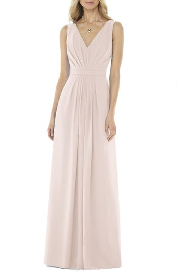 Social Bridesmaids V-Neck Georgette Gown, Pink