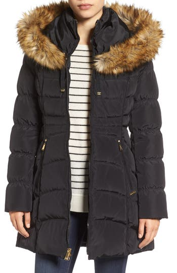 Laundry By Shelli Segal Hooded Down & Feather Fill Coat With Detachable Faux Fur Trim, Black