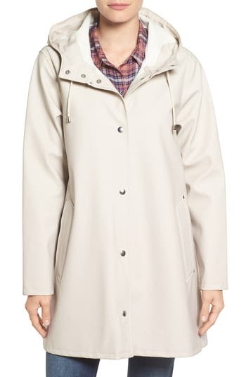 Women's Stutterheim Mosebacke Waterproof A-Line Hooded Raincoat, Size X-Small - Beige