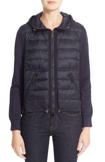 Moncler Down Front Hooded Knit Jacket