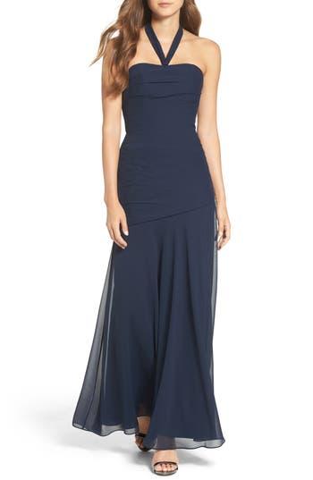 Wtoo Chiffon Halter Gown, Blue