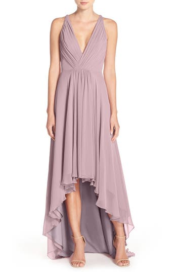 Monique Lhuillier Bridesmaids Deep V-Neck Chiffon High/low Gown, Purple