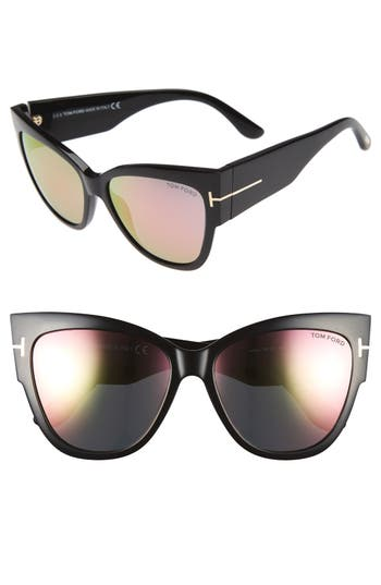 Tom Ford Anoushka 57Mm Gradient Cat Eye Sunglasses - Black/ Pink Lapo