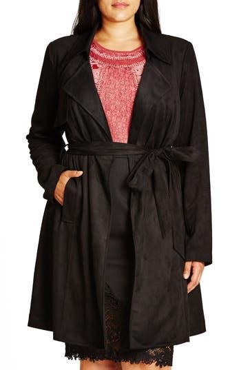 Plus Size Women's City Chic Faux Suede Trench Coat