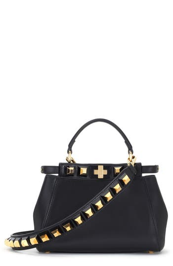 Fendi Mini Peekaboo Studded Leather Bag - Black