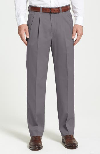 Nordstrom Men's Shop 'Classic' Smartcare™ Relaxed Fit Double Pleated Cotton Pants