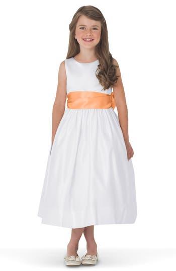 Girls Us Angels White Tank Dress With Satin Sash Size 8  Orange