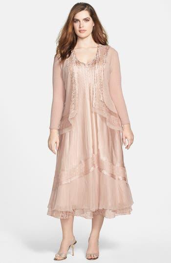 Plus Size Komarov Embellished Mixed Media Dress & Jacket