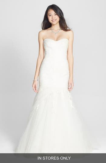 Bliss Monique Lhuillier Draped Tulle & Chantilly Lace Trumpet Dress
