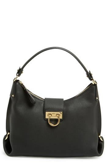 Salvatore Ferragamo Leather Hobo - Black at NORDSTROM.com