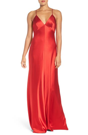 Jill Jill Stuart Deep V Satin Slip Gown, Red