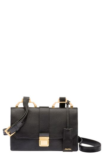 Miu Miu 'Small Madras' Goatskin Leather Shoulder Bag - Black