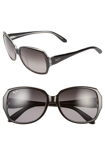 Maui Jim Kalena 57Mm Polarizedplus Sunglasses - Black/ Crystal/ Neutral Grey