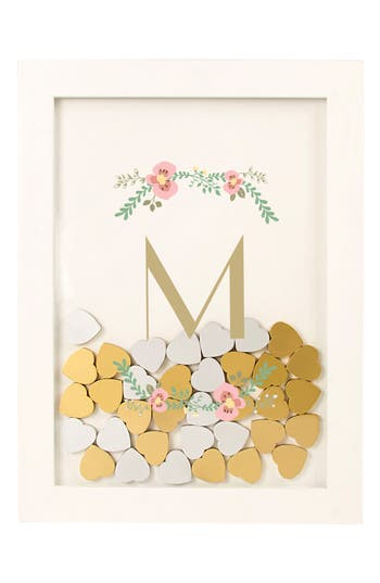 Cathy's Concepts Monogram Love Heart Drop Guest Book, Size One Size - White