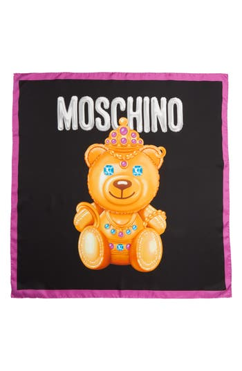 Women's Moschino Bear Print Silk Scarf