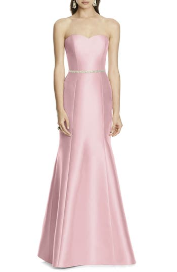 Alfred Sung Strapless Sateen Trumpet Gown, Pink