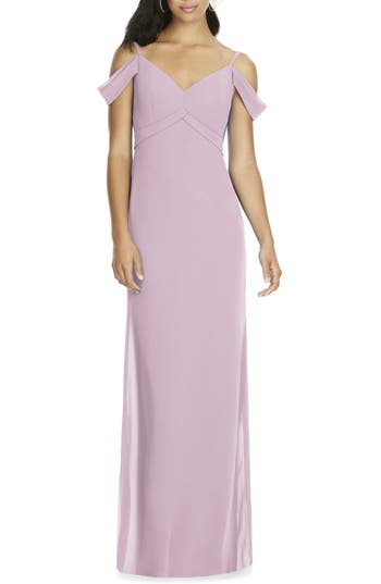 Social Bridesmaids V-Neck Chiffon Cold Shoulder Gown, Pink