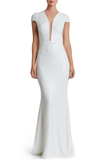 Dress The Population Michelle Sequin Gown, White
