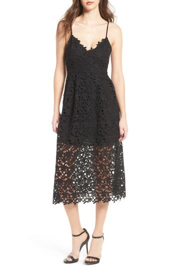 Astr The Label Lace Midi Dress, Black