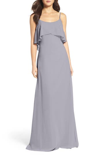 Wtoo Ruffle Overlay Spaghetti Strap Chiffon Gown, Purple