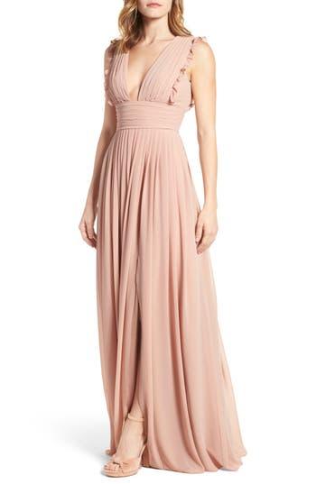 Monique Lhuillier Bridesmaids Deep V-Neck Ruffle Pleat Chiffon Gown, Pink