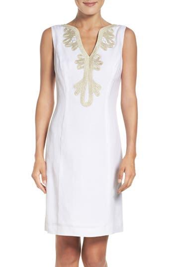 Eliza J Embroidered Neck Sheath Dress, White